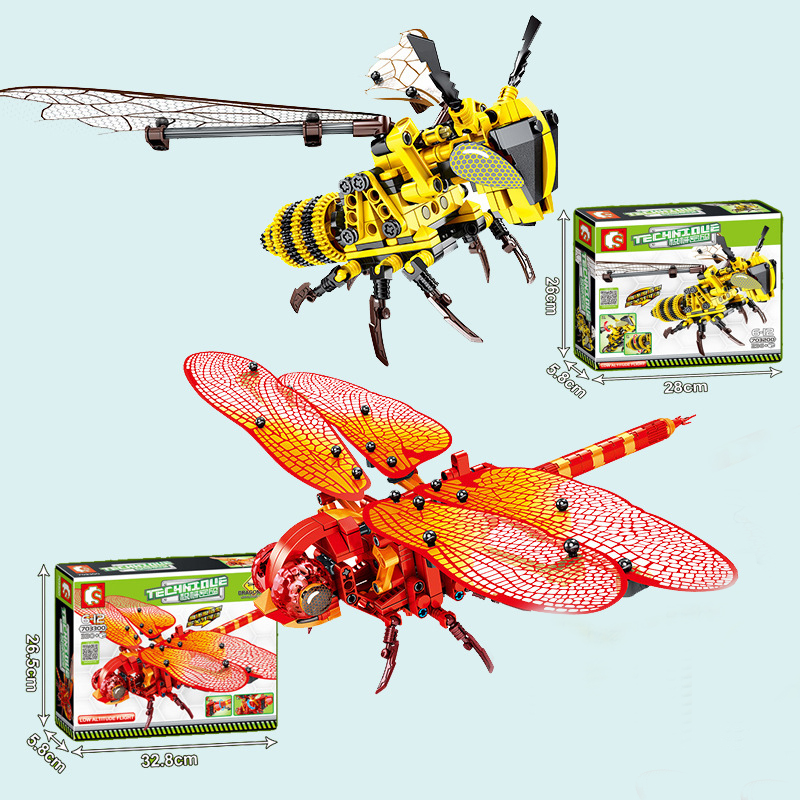 Educational Toys Simulated Insect Building Blocks Compatible By Technic DIY Dragonfly Bee Model Creator Toys For Children