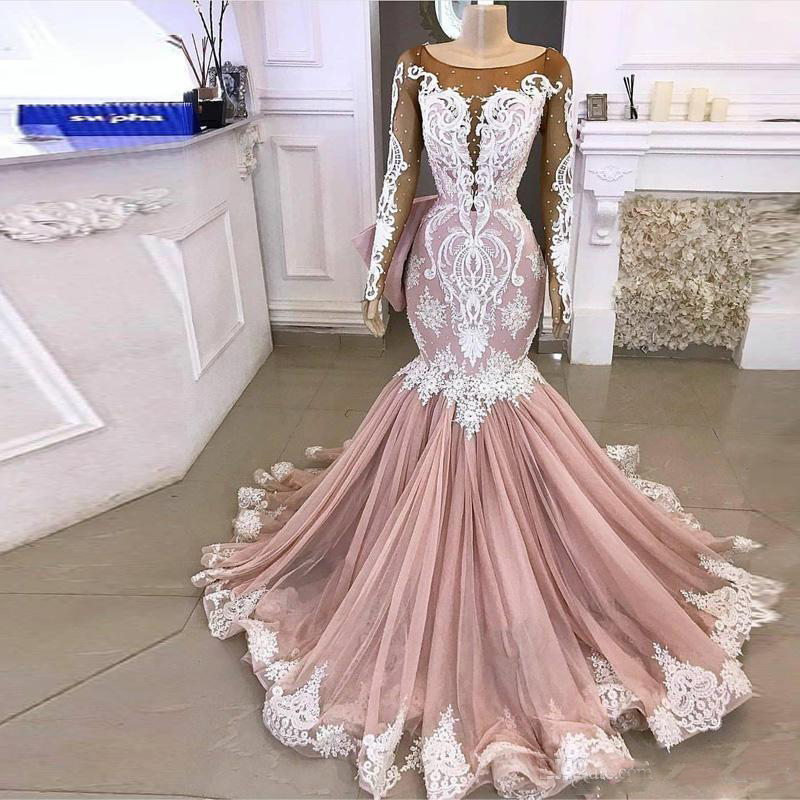Blush Pink Mermaid Wedding Dresses With Long Sleeves Sheer Neck Lace Applique 2020 Garden Wedding Gown Vestido De Noiva