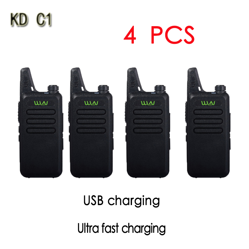 4PCS WLN KD-C1Mini Walkie Talkie Portable Radio UHF 400-470 MHz 5W 1500mah With 16 Channels  Slim Amateur Handheld Transceiver