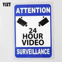 YJZT 11,9 CM × 17,1 CM Video vigilancia calcomanías de advertencia 24 horas CCTV pegatina PVC para coche 12C-0405