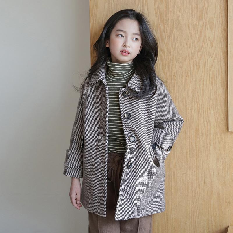 Autumn Winter Elegant Girls Woolen Jacket European Style New Kids Plaid Overcoat Children's Casual Coat Fashion Outerwear 6-14
