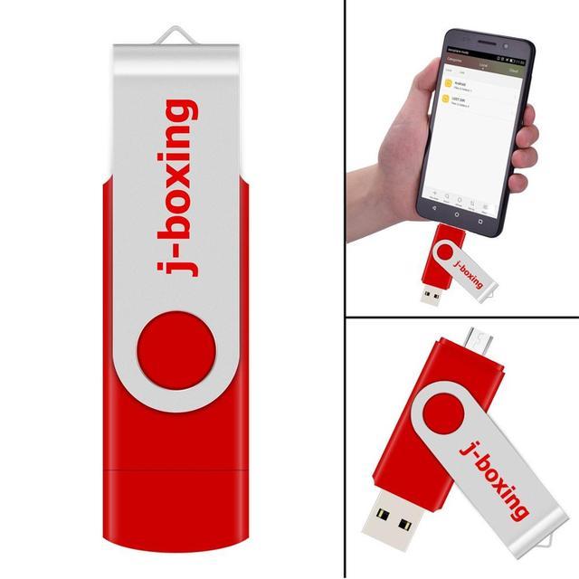 J-boxing Red OTG 16GB USB Flash Memory Stick Dual Port Pendrive 16gb Micro USB Flash Drives for Samsung Huawei Xiaomi LG Tablet