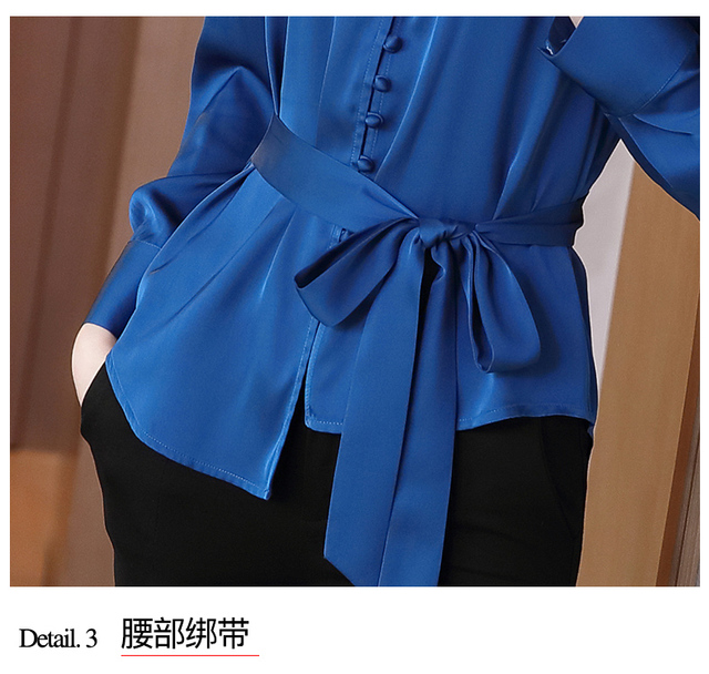Autumn Long Sleeve Chiffon Blouse Shirt Blouse Women Blusas Mujer De Moda 2021 V-Neck Office Lady Blouse Tops Women Blusa D713 6