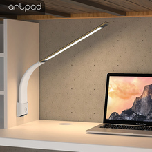 Artpad Protable Dimming Wireless Desk Lamp 6W Rechargeable Ultra-thin Eyecare SilverReading Lamp Bedside Table Stand Night Light