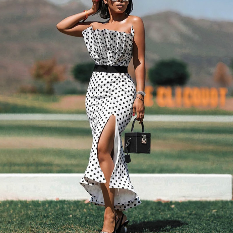 <font><b>Women</b></font> Tube Tops <font><b>Dresses</b></font> Polka Dot <font><b>Bodycon</b></font> Side Slit with Waist Belt Party <font><b>Sexy</b></font> Slim Vestido African Event Celebrate Occasion New image