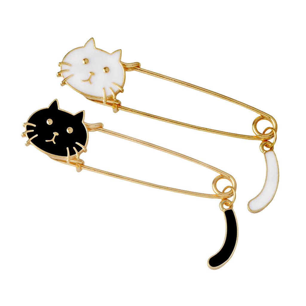 2 Pcs Lovely Cat Brooch Safety Pin Cute Animal Shape Corsages Scarf Clips Lapel Pins Fashion Jewelry for Women Girls