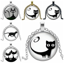 2020 New Hot Cartoon Cute Cat Series Glass Convex Round Pendant Necklace Fashion Popular Jewelry Ladies Necklace