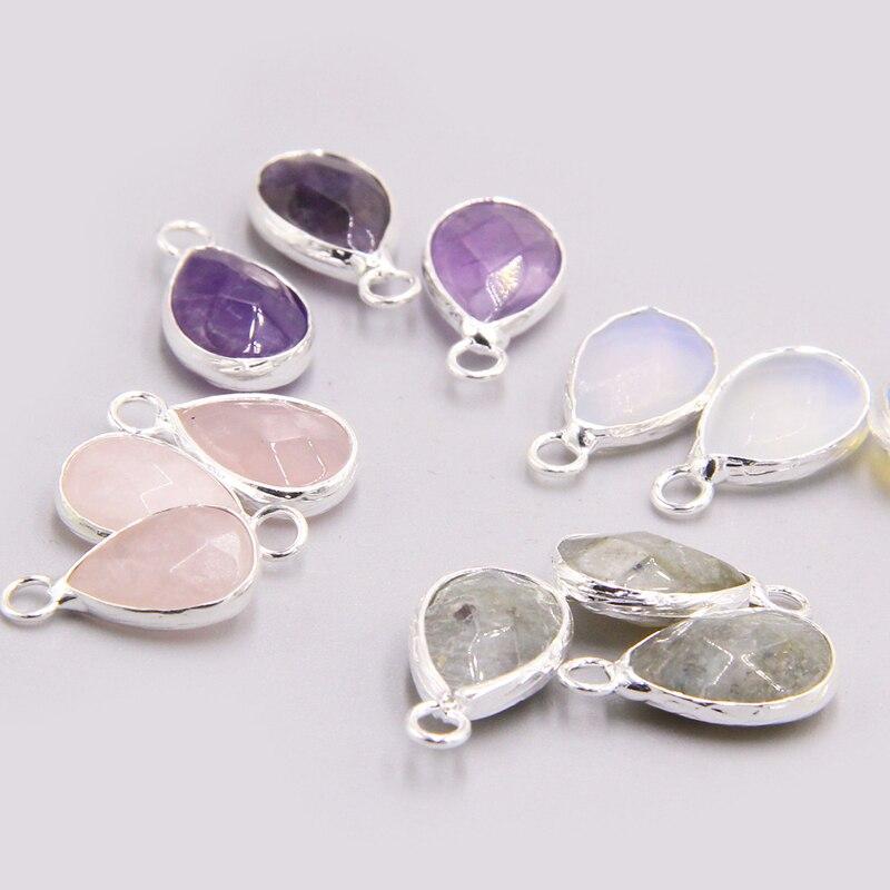 3pcs/set Natural Rose Quartzs Amethysts stone Pendants earring necklace Single Hole Water drop pendant charm for jewelry making