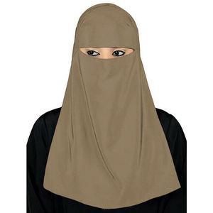 Image 5 - Muslim Hijab Islamic Veil Burqa Burka Niqab Nikab Women Solid Color Amira Scarf Headwear Arab Prayer Hijab Headscarf Cover