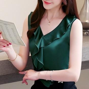 Korean Fashion Silk Women Blouses Satin Sleeveless Solid Ruffles Women Shirts Plus Size XXXL Blusas Femininas Elegante 1