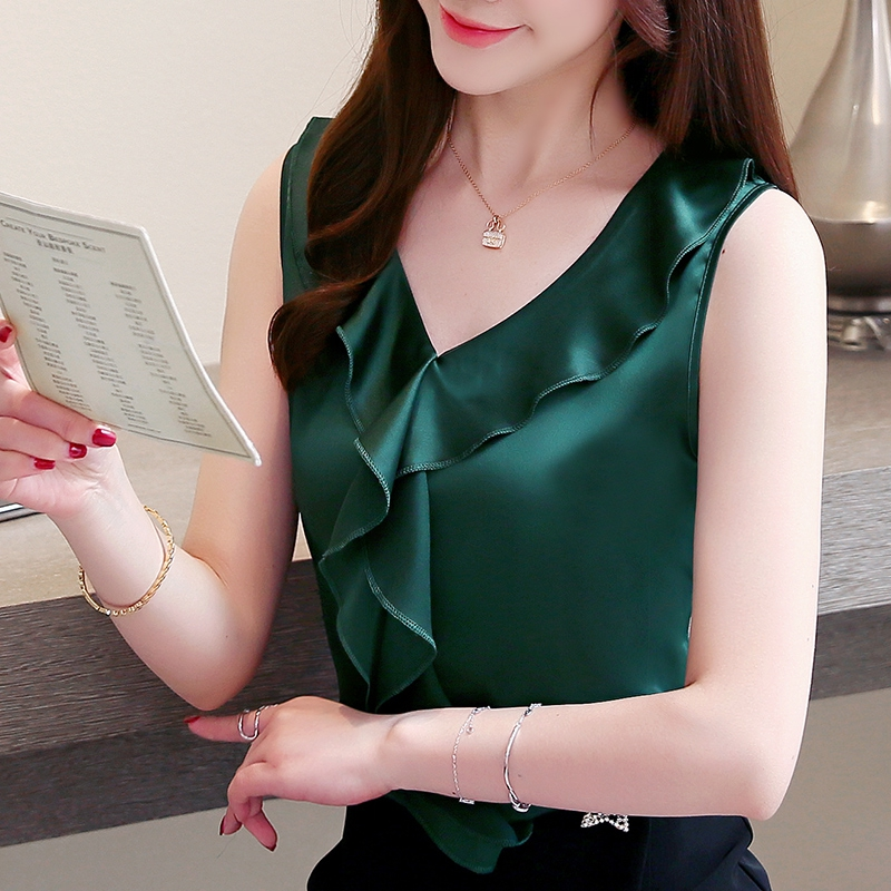 Korean Fashion Silk Women Blouses Satin Sleeveless Solid Ruffles Women Shirts Plus Size XXXL Blusas Femininas Elegante