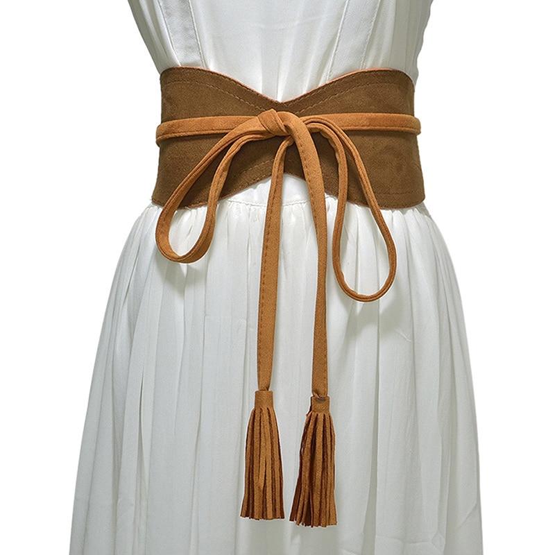 Women Wide Belt For Dress Solid Leather Bandage Bow Belt Cummerbund Tassel Waist Strap Belt Elegant Ladies Apparel Accessories