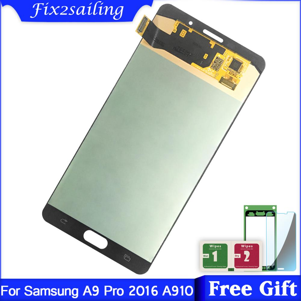 6.0inch SUPER AMOLED For SAMSUNG GALAXY A9 Pro A910 A9100 LCD Display Touch Screen Digitizer Assembly For SAMSUNG A910 LCD