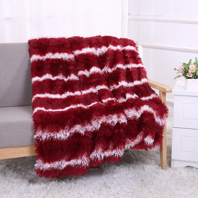 Claroom Fluffy Striped Blanket Thick Home Furry Blanket for Bed Winter Sofa Throw and Cover Artificial Wool Blanket WP39#