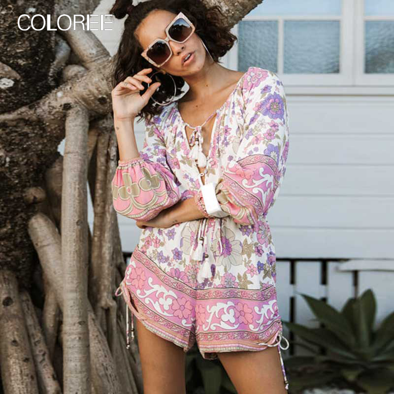 COLOREE Boho Chic Floral Print Romper For Women Elegant V-neck Long Sleeve Adjustable Tie Bohemian Jumpsuits 2020 Playsuits