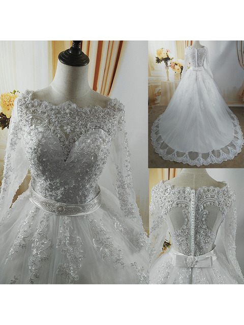 ZJ9131 2021 White Ivory Elegant Ball Gown Pearls Wedding Dresses for Brides Lace Sweetheart With Lace Edge Plus Size 6
