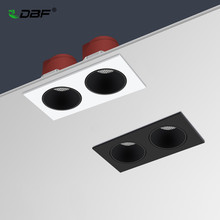 [DBF]2021 Anti-Glare Double Heads Square Recessed Downlight 14W 24W 30W Angle Adjust High CRI Ceiling Spot Light