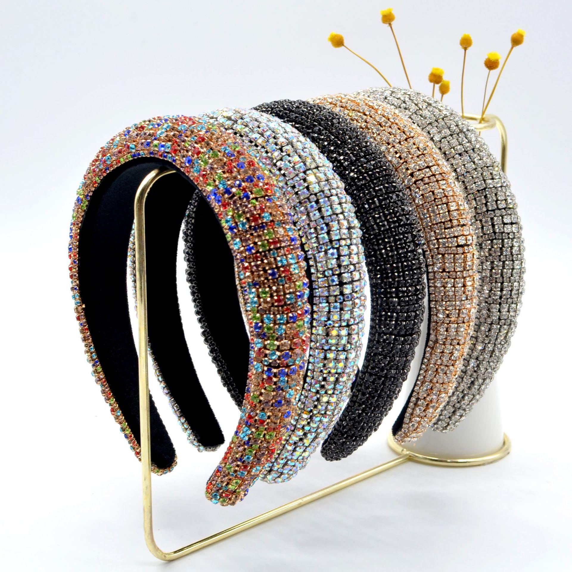 JOLORYM ювелирные изделия из жемчуга для женщин Красочные Стразы губка модные барокко широкополая повязка для свадьбы FG-YL-001