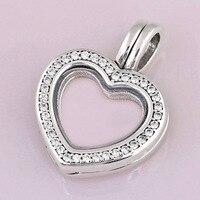 Kleine Medaillons Funkelnden Herz Schwimm Kristall Halskette Anhänger Für 925 Sterling Silber Perle Charme Armband Europa DIY Schmuck