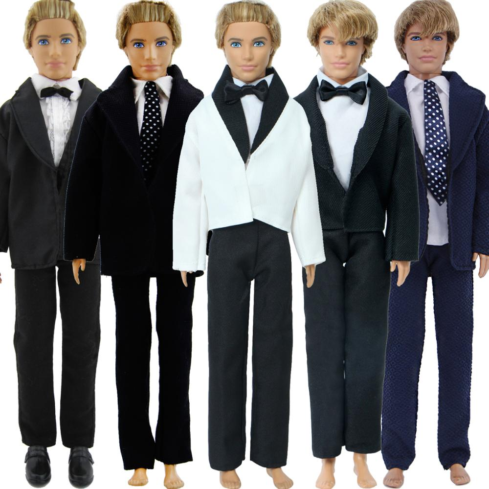 Handmade Men's Outfit Business Suit T-Shirt Trousers Tie Bow Formal Suit Clothes For Barbie Ken Doll Accessories Baby DIY Toy