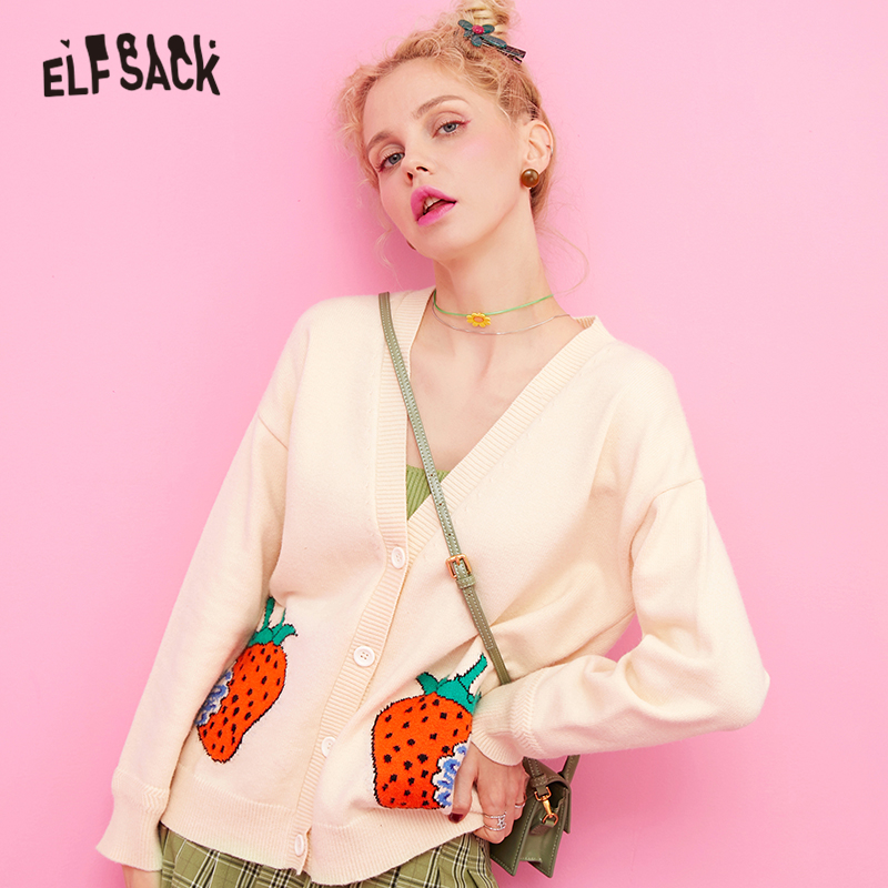 ELFSACK V Neck Strawberry Print Casual Preppy Cardigan Sweater Women Clothing 2019 Apricot Korean Style Ladies Sweaters