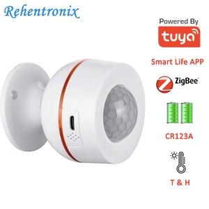 Встроенный аккумулятор Tuya ZigBee 5 в 1 А, USB, беспроводной датчик движения с датчиком температуры и влажности, Wi-Fi, PIR
