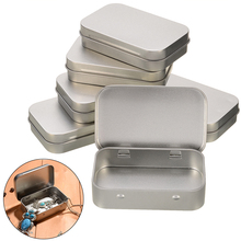 6pcs Tin Higed Lid Empty Boxes Silver Flip Metal Storage Box