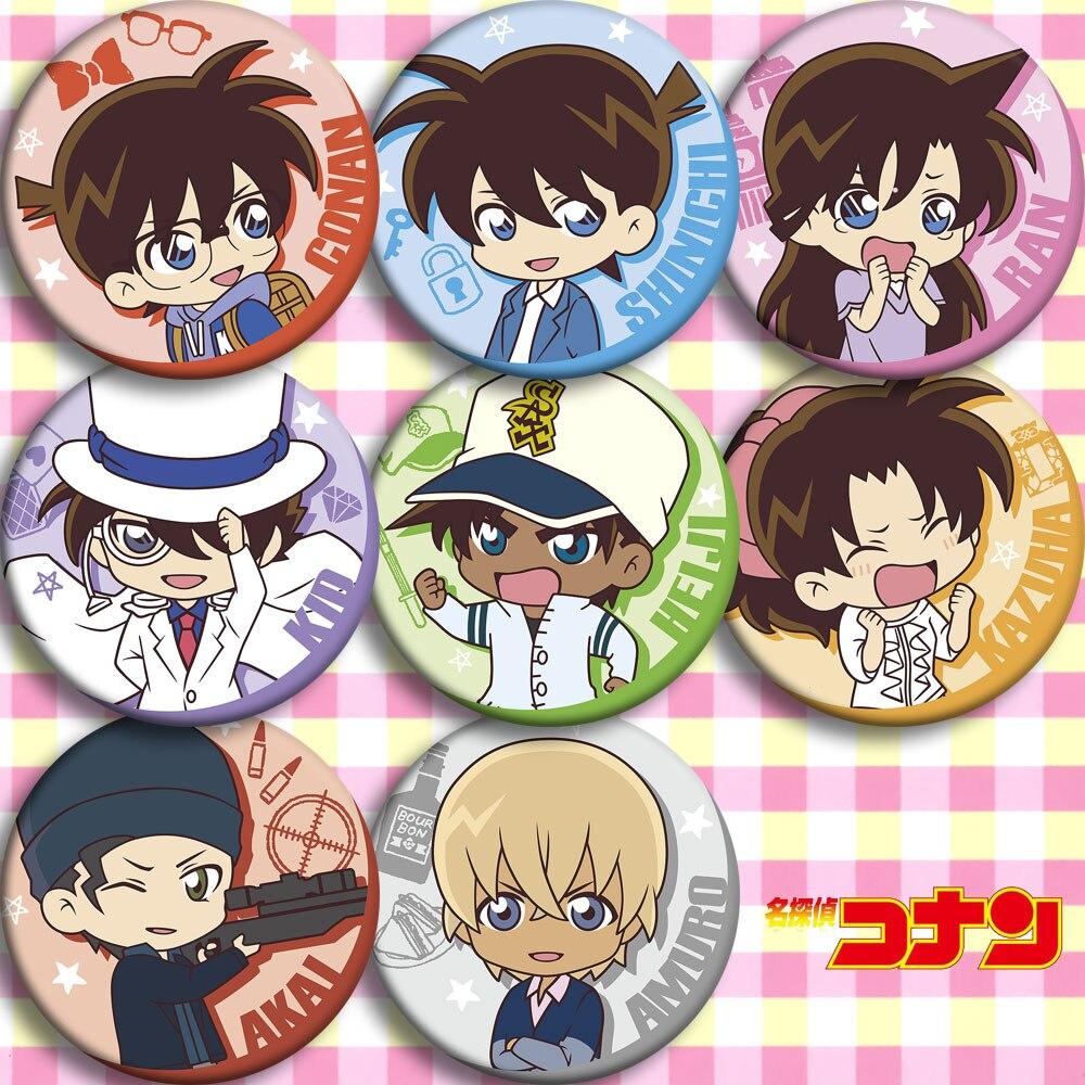 Japan Anime Detective Conan KID HEIJI  Cosplay Badge Cartoon Collection Backpacks Badges Bags Button Brooch Pins Gift
