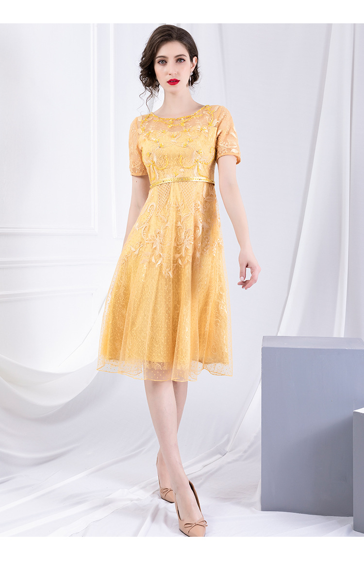Early autumn new style round collar slim mesh yarn dress short sleeve high waist Embroidered Beaded A-shaped dresses