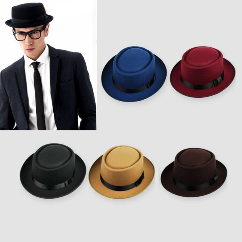 Meihuida Unisex Men Women Casual Hard Felt Pork Pie Cap Fedora Bowler Hat Derby Homburg Hats Formal Flat Brim Solid Hat