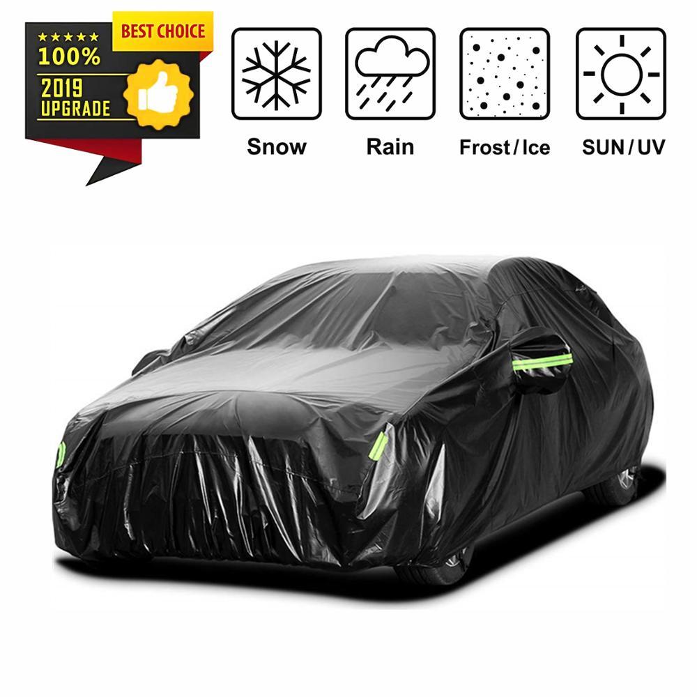 Bâche de voiture imperméable noire universelle protection solaire extérieure couverture automatique hiver neige été Protection complète de voiture