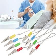 Porte-serviettes de bavoir de laboratoire dentaire d'acier inoxydable de 5 pièces avec la chaîne de boule en acier Flexible