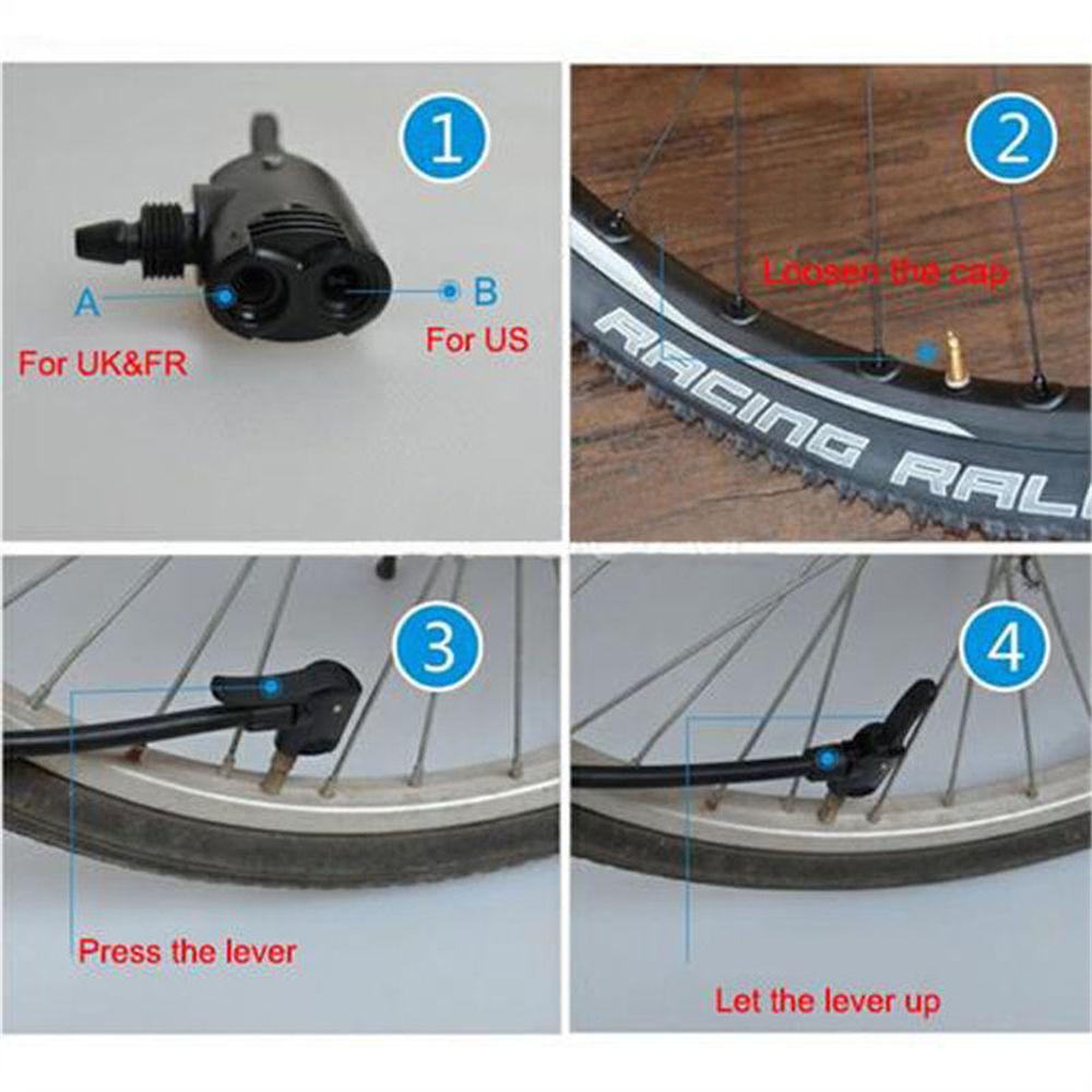 Bike Cycle Tyre Tube Replacement Presta Dual Head Air Pump Adapter Valve H7D2