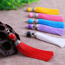 5pcs/lot 14 Colors Polyester Tassel Charms Pendants with Lobster Clasps Tassel Brush for DIY Earrings Jewelry Making Findings