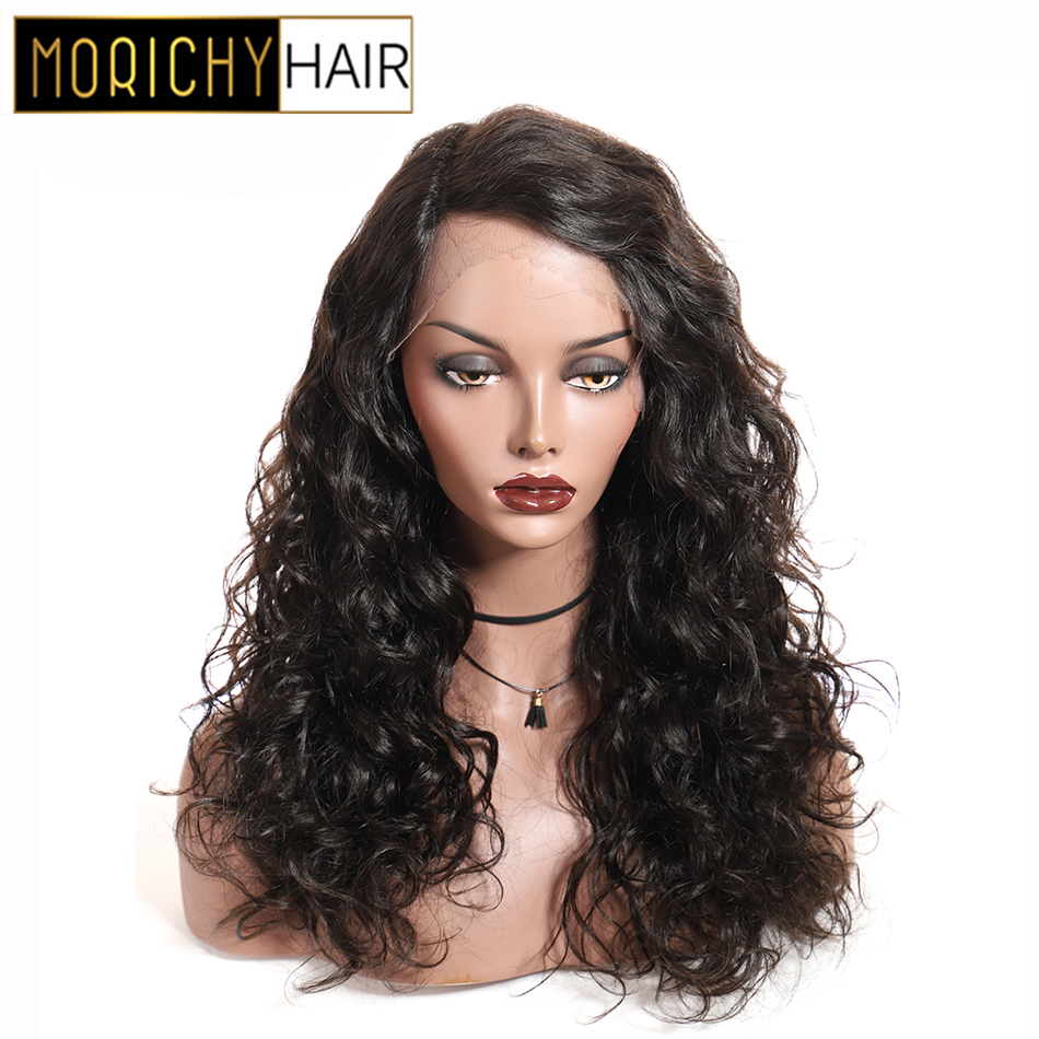 Morichy T Part Lace Wigs Water Wave Non-Remy Peruvian Human Hair Wigs Lace Part Head Seam Natural Color Sassy And Energetic Wavy