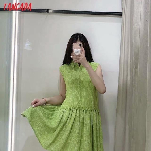 Tangada Women Green Tweed Dress Sleeveless Backless 2021 Fashion Lady Shirt Dresses 3H187 2