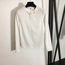 Top Bottoming-Shirt Slim Long-Sleeved Fashion Women's Thin-Section Round-Neck All-Match