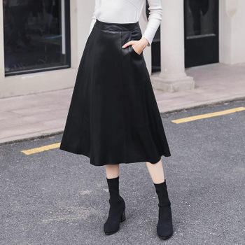 2020 Women Spring Genuine Real Sheep Leather Skirt W23 2020 women spring genuine real sheep leather pants e54