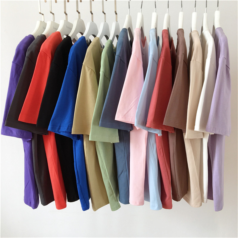 95% Cotton Candy Colors T Shirt Summer Women Loose Solid Tee Shirt Female Short Sleeve Tops Tees Causal O-Neck Basic T-shirt