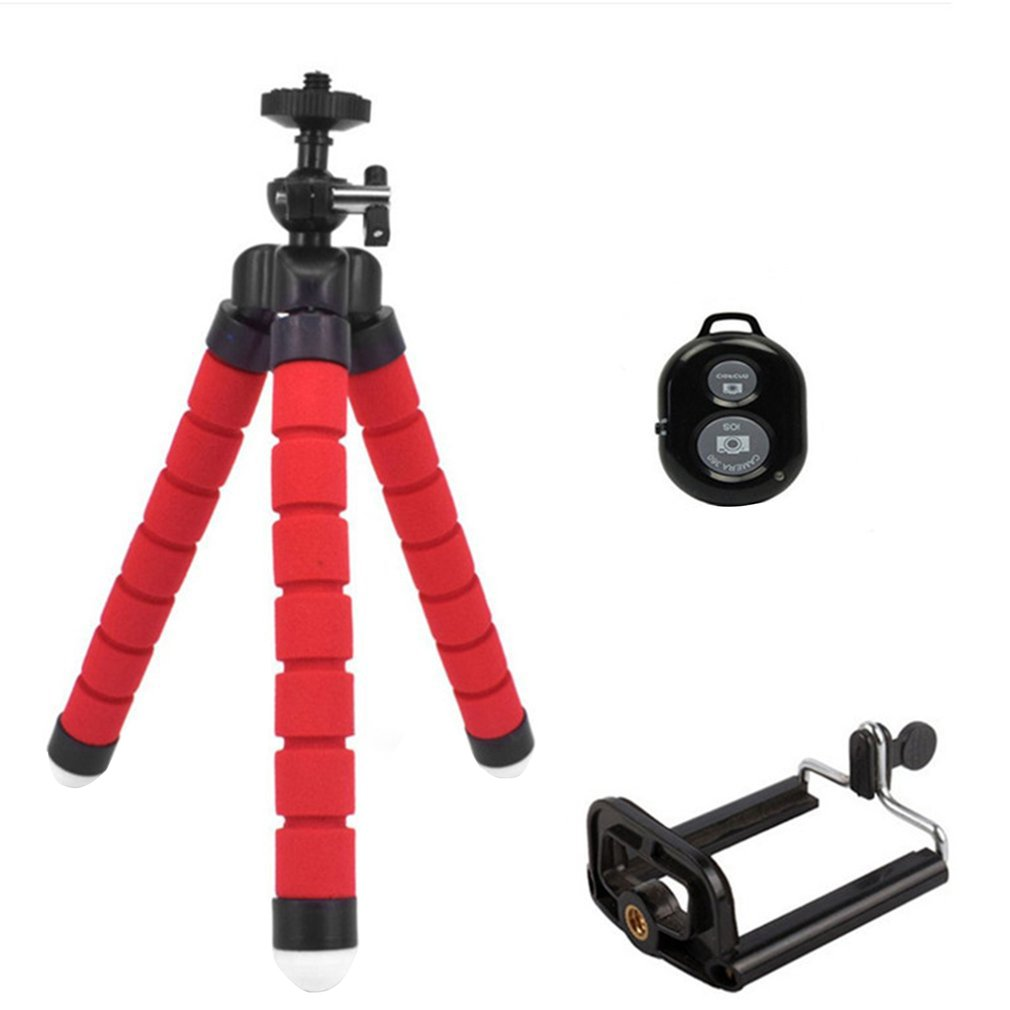 Nova esponja flexível polvo mini tripé flexível tripé de telefone para iphone mini câmera tripé suporte do telefone clipe 1