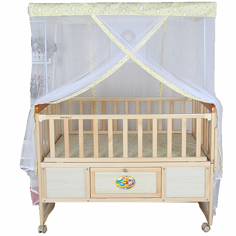 High-grade Simple Twin Baby Bed Solid Wood No-paint Roll Bb Bed Baby Bed
