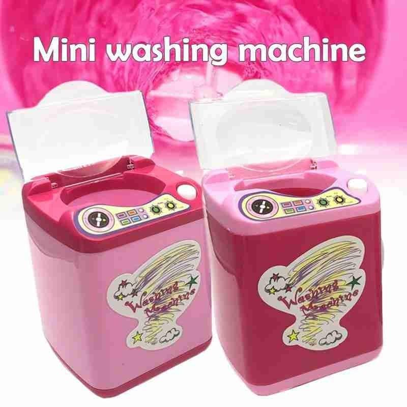 1 Pcs Electric Washing Machine Toy Washing Machine Electric Cute Toy Cosmetic Brush Powder Puff Washer Beauty Cleaning New Tool