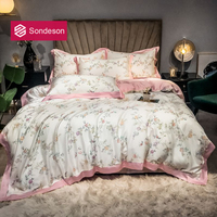 Sondeson Women 100% Silk Small Flower Bedding Set 25 Momme Silk Pink Duvet Cover Set Pillowcase Flat Sheet Queen King Bed Set