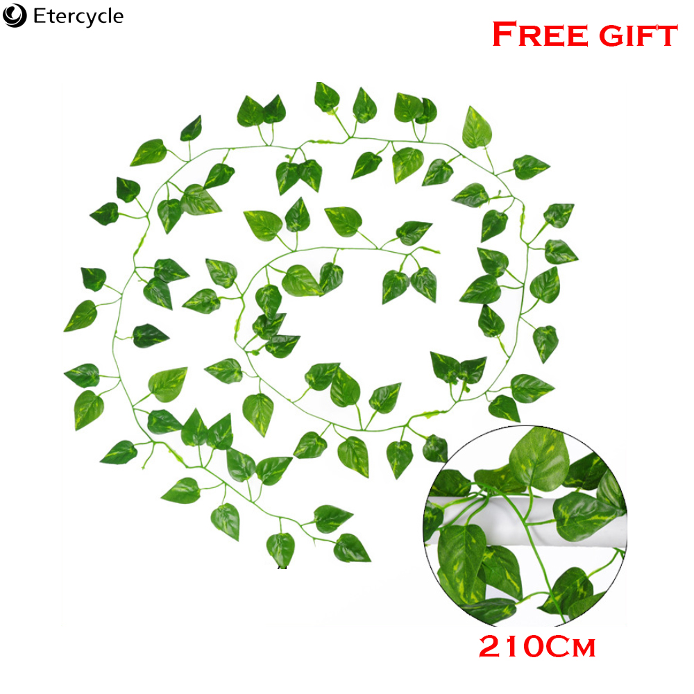 Free Gift 1PCS Artificial Decoration Vivid Vine Rattan Leaf Vagina Grass Plants Grape Leaves For Home Garden Party Decor