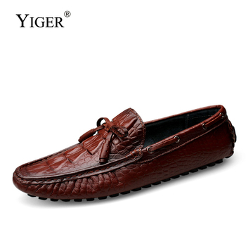 YIGER Loafers men boat shoes Crocodile pattern male designer genuine leather slip-on casual shoes Bow loafers man driving shoes