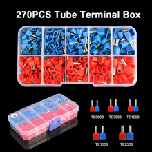 270 pçs/caixa duplo fio tubo terminal kit 2*0.5-2.5mm2 isolado virola dupla fiação terminais friso bootlace terno conjunto
