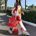 Frauen elegante tunika hohe taille elastische chiffon floral print off schulter maxi kleid böhmischen strand lange kleider vestidos GL268