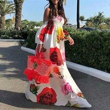 Robe longue en mousseline de soie, tunique élégante, taille haute, élastique, imprimé floral, épaules dénudées maxi, style bohémien, vêtements de plage, GL268