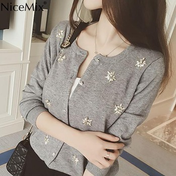 NiceMix Cardigan Women Knitted Sweater Hand Beading Sequined Patch Sweaters Sweet Cardigans 2020 Spring Autumn Pull Femme
