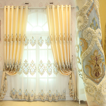 European and American style crown embroidery luxury villas high-end apartment bedroom living room floor window curtains  screen